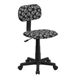 MER-1133 Peace Sign Printed Office Chair in Black and White