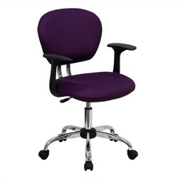 Scranton & Co Mid-Back Mesh Task Office Chair with Arms in Purple