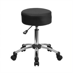 Scranton & Co Faux Leather Adjustable Ergonomic Stool in Black