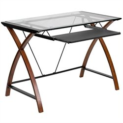 Scranton & Co Glass Top Computer Desk in Black and Cherry