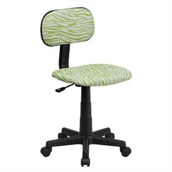 Scranton & Co Zebra Print Office Chair in Green and White
