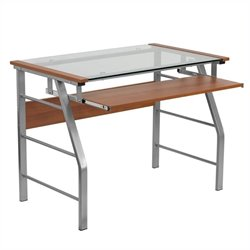Scranton & Co Glass Top Computer Desk with Pull Out Keyboard