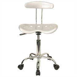 Scranton & Co Computer Task Office Chair Seat in Silver and Chrome