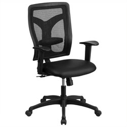 MER-1133 High-Back Leather Office Chair in Black