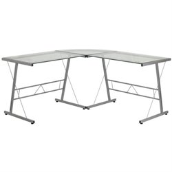 Scranton & Co Glass Top L-Shaped Computer Desk in Silver
