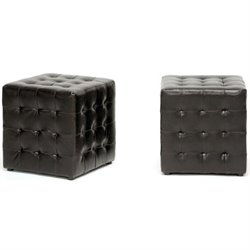 Hawthorne Collection Faux Leather Cube Ottoman in Brown (Set of 2)