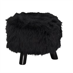 Hawthorne Collection Plush Ottoman in Black