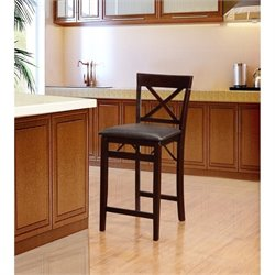 Hawthorne Collection Faux Leather Bar Stool in Espresso Brown