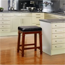 Hawthorne Collection Faux Leather Bar Stool in Black
