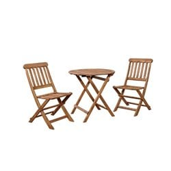 Hawthorne Collection 3 Piece Patio Bistro Set in Teak