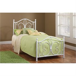 Hawthorne Collections Twin Metal Bed in Textured White