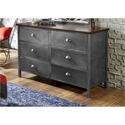 Hawthorne Collections 6 Drawer Double Dresser in Black Steel