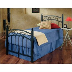 Hawthorne Collections Twin Metal Spindle Bed in Textured Black