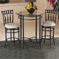 Hawthorne Collections 3 Piece Round Glass Top Pub Table Set in Black