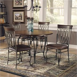 Hawthorne Collections 5 Piece Round Dining Set in Brown