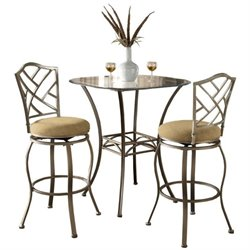 Hawthorne Collections 3 Piece Round Glass Top Bar Height Table Set