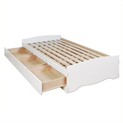 Hawthorne Collections Twin Platform Storage Bed in White