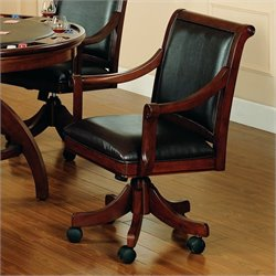 Hawthorne Collections Arm Chair with Casters in Medium Brown Cherry