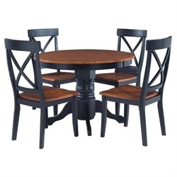 Hawthorne Collections 5 Piece Round Dining Set in Black and Oak
