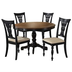 Hawthorne Collections 5 Piece Dining Set in Rubbed Black and Cherry