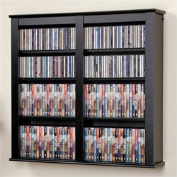 Hawthorne Collections Double Floating Media Wall Storage in Black