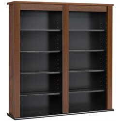 Hawthorne Collections Double Media Wall Storage in Cherry and Black