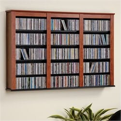 Hawthorne Collections Triple Media Wall Storage in Cherry and Black