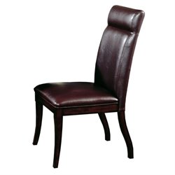 Hawthorne Collections Faux Leather Dining Chair in Brown (Set of 2)