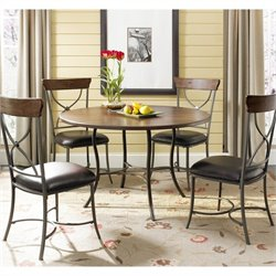 MER-1183 5 Piece Round Wood Top Dining Set