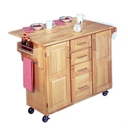 MER-1183 Kitchen Cart with Breakfast Bar in Natural