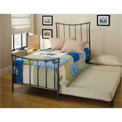 Hawthorne Collections Twin Metal Spindle Bed with Trundle in Pewter