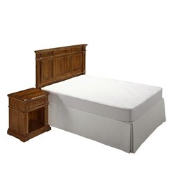 MER-1183 2 Piece Bedroom Headboard Set in Natural Acacia