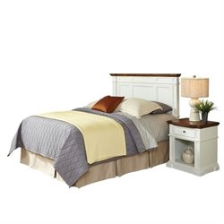 MER-1183 2 Piece Bedroom Headboard Set in White and Oak