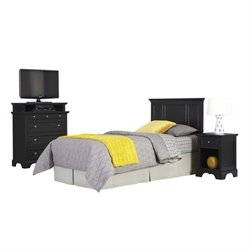 MER-1183 3 Piece Twin Panel Headboard Bedroom Set