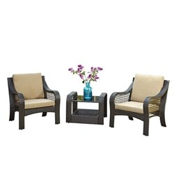 MER-1183 Patio Sofa Set in Deep Brown
