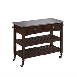 Hawthorne Collections Stainless Steel Top Kitchen Cart in Aged Bourbon