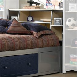 Hawthorne Collections Full Metal Bookcase Headboard in Silver