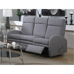 Atlin Designs Linen Reclining Sofa with Motion in Gray