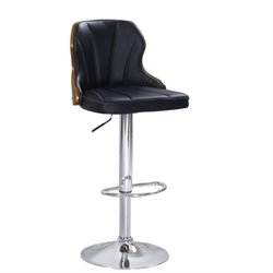 Atlin Designs Swivel Adjustable Bar Stool in Black (Set of 2)