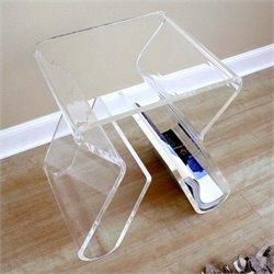Atlin Designs Acrylic Magazine Rack End Table