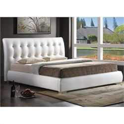 Atlin Designs Faux Leather Tufted Platform Bed in White