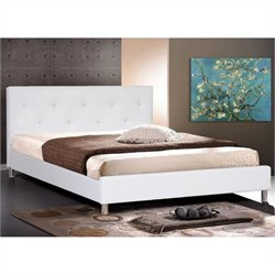 Atlin Designs Leather Tufted Platform Bed in White