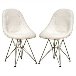 Atlin Designs Faux Leather Tufted Dining Chair in White (Set of 2)