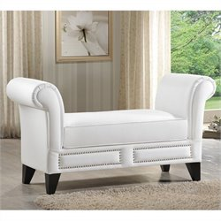 Atlin Designs Faux Leather Scroll Arm Bedroom Bench in White