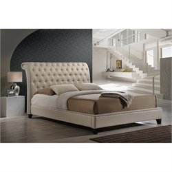 Atlin Designs King Tufted Platform Bed in Light Beige