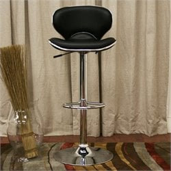 Atlin Designs Adjustable Swivel Bar Stool in Black (Set of 2)