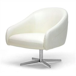 Atlin Designs Leather Swivel Accent Chair in Ivory