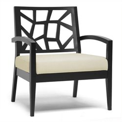 Atlin Designs Fabric Accent Chair in Black and Cream