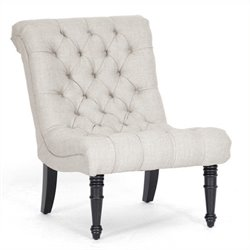 Atlin Designs Linen Tufted Accent Chair in Beige