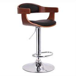 Atlin Designs Adjustable Swivel Bar Stool in Walnut and Black